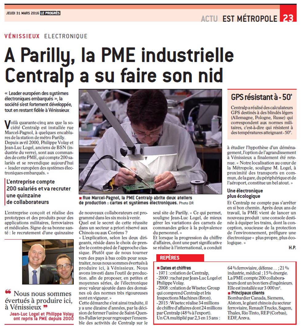 article Le Progrès Mars 2016